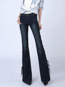 Dark Blue Patchwork Lace-up High Waisted Extreme Flare Bell Bottom Vintage Long Pants