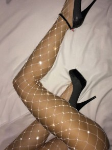 White Patchwork Rhinestone Sewing High Waisted Fishnet Tights Legging