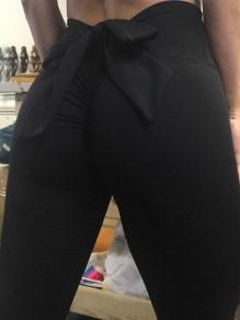 Leggings farfallino elastico cotone lungo nero