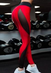 Leggings allenamento yoga granata A vita alta lungo rosso
