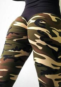 Legging stampa mimetica A vita alta cuore cuore sportivo yoga lungo verde militare