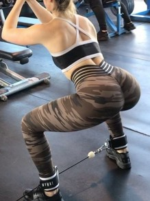 Brown Camouflage Print High Waisted Sports Long Legging