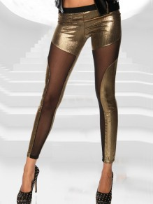 Golden Patchwork Grenadine Bright Wire High Waisted Long Legging
