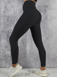 Black Pleated High Waisted Casual Long Legging