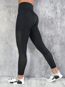 Black Patchwork Cut Out Skinny Sports Legging