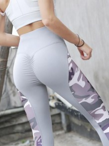 Grey-Purple Patchwork Camouflage Pleated High Waisted Peach Heart Sports Yoga Long Legging
