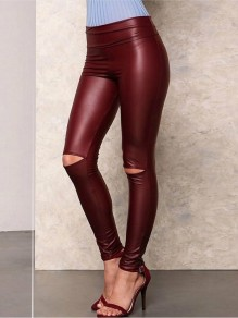 Wine Red Cut Out High Waisted Fashion Long Leggings