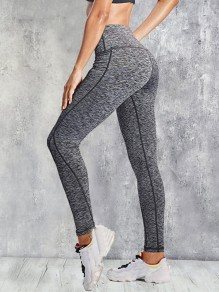 Dark Grey Pockets High Waisted Yoga Sports Long Legging