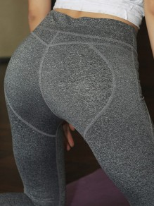 Grey High Waisted Yoga Sports Skinny Long Legging