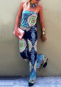 Blue Floral Print Bandeau High Elastic Waist Long Jumpsuit