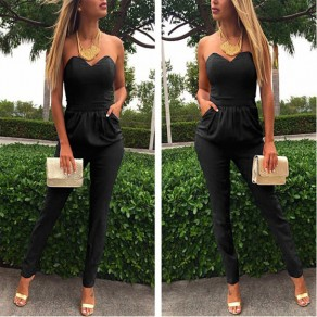 Black Geometric Tie Back Cut Out Round Neck Sexy Long Jumpsuit