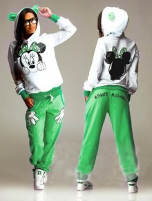 Green Mickey Print Pockets 2-in-1 Hooded Casual Long Jumpsuit