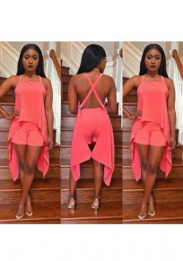Pink Backless Irregular Cross Back Sewing Mid-rise Short Jumpsuit