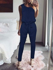 Blue Pleated Bow High Waisted Fashion Long Jumpsuit
