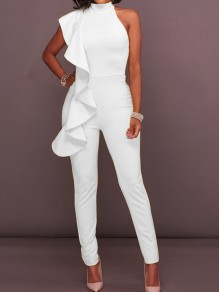 White Asymmetric Shoulder Ruffle Zipper Bodycon For Wedding High Waisted Long Jumpsuit