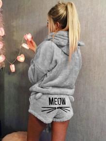 """Shorts tuta tasche stampa """"meom"""" in due pezzi con cappuccio leggermente carini dolci grigi"""