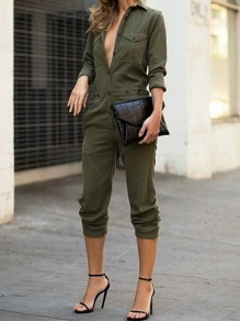 Army Green Patchwork Buttons Pockets Turndown Collar High Waisted Fashion Long Jumpsuit
