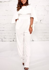 White Ruffle Backless One Piece Banquet Cloak Elegant Party Long Jumpsuit