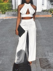 White-Black Striped Cut Out Halter Neck High Waisted Two Piece Casual Long Jumpsuit