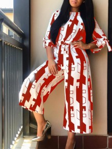 Red White Geometric Print Sashes Bow Wide Leg Round Neck Casual Long Jumpsuit