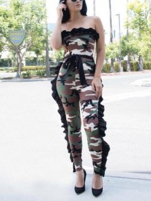 Green Camouflage Print Camo Cascading Ruffle Sashes Off Shoulder Boat Neck Casual Long Jumpsuit