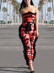 Red Camouflage Print Camo Cascading Ruffle Sashes Off Shoulder Boat Neck Casual Long Jumpsuit
