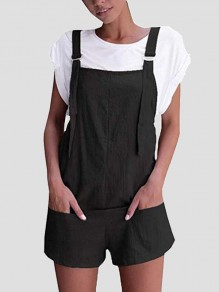 Black Shoulder-Strap Pockets Sweet Cute Casual Overall Pants Short Jumpsuit