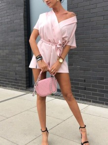 Pink Sashes Bow High Waisted Sweet Going out Short Jumpsuit