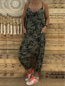 Army Green Camo Print Condole Belt Pockets V-neck Cut Out Casual Long Jumpsuit
