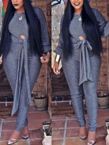 Grey Bright Wire Sashes Bowknot Sparkly Two Piece Casual Long Jumpsuit