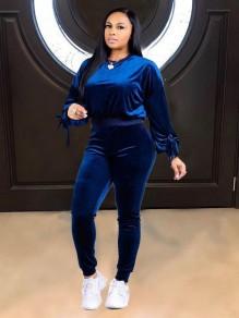 Blue Long Sleeve Peter Pan Collar Boyfriend Two Piece Jogger Set Jumpsuit Pants