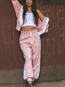 Pink Patchwork 2-in-1 Drawstring Buttons Hooded Streetwear Long Jumpsuit