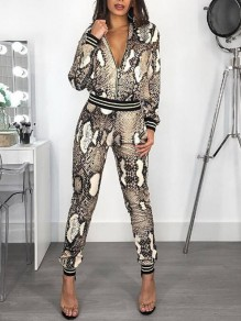 Brown Snake Skin Pattern Zipper Mock Collared Two Piece Casual Long Jumpsuit