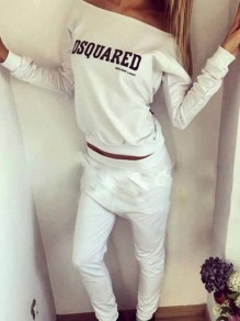 White Letter Print Pockets Off Shoulder Sports 2-in-1 Sports Long Jumpsuit