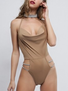 Skin Colour Cut Out Backless Halter Neck With Rhinestones V-neck Streetwear Short Jumpsuit Pants