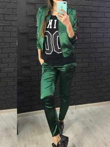 Green Striped Print Pockets 2-in-1 Sports Long Jumpsuit