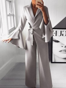 Light Grey Belt Irregular Bell Sleeve Elegant Party Wide Leg Palazzo Long Jumpsuit Pants