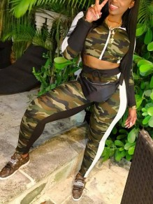Army Green Camouflage Zipper Mock Collared Two Piece Casual Long Jumpsuit