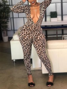 Leopard Print Bodycon Deep V-neck Long Sleeve Clubwear Party Long Jumpsuit