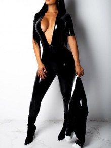 Black Bodycon Deep V-neck Latex Vinly Patent Rubber Party Long Jumpsuit
