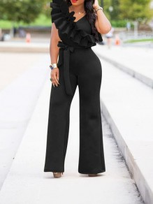 Black Ruffle Belt Elegant Party High Waisted Wide Leg Palazzo Long Jumpsuit