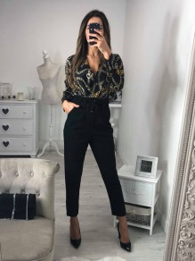 Black Patchwork Pockets Buttons Waist Fashion Long Jumpsuit
