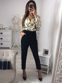 White Patchwork Pockets Buttons Waist Fashion Long Jumpsuit
