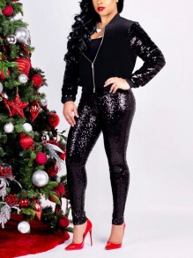 Black Patchwork Sequin Zipper Two Piece Long Sleeve Sparkly Glitter Party Long Jumpsuit