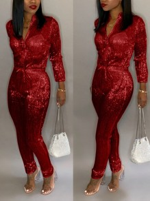 Red Bright Wire Zipper Drawstring Bodycon Sparkly Glitter Birthday Christmas New Year's Eve Long Jumpsuit