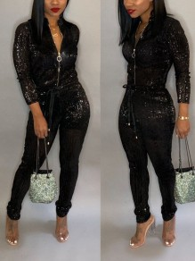 Black Bright Wire Zipper Drawstring Bodycon Sparkly Glitter Birthday Christmas New Year's Eve Long Jumpsuit