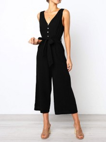 Black Sashes Buttons Bodycon Deep V-neck Going out Jumpsuit Pants