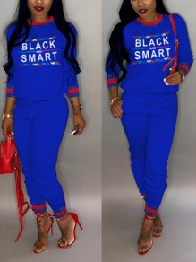 """Sapphire Blue """"BLACK SMART"""" Pockets Two Piece Long Sleeve Round Neck Casual Long Jumpsuit"""