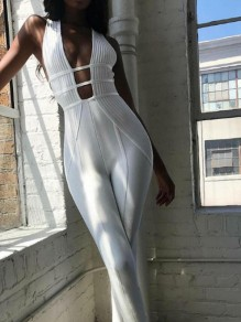 White Cut Out Bodycon Deep V-neck Streetwear Jumpsuit Pant