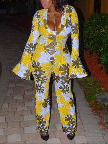 Yellow Floral Pattern Deep V-neck Flare Sleeve Casual Wide Leg Long Jumpsuit